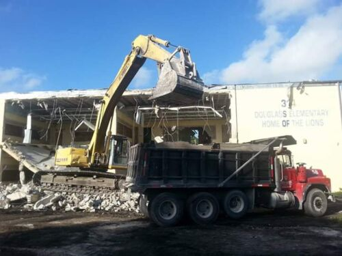 Structural demolition of Frederick Douglas elementary school in Miami FL